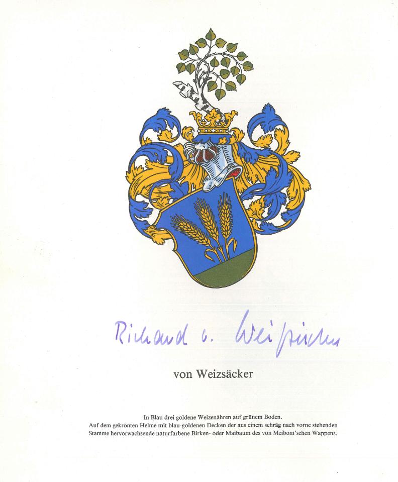 Das Familienwappen von Weizsäcker mit Signatur von Richard v. Weizsäcker