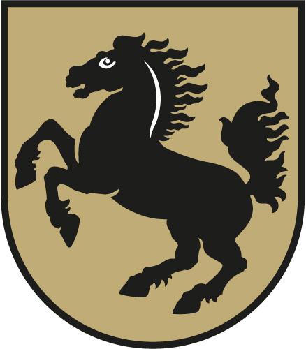 Wappen Stuttgart - Stadtsiegel von 1433: ein (heraldisch) nach rechts galoppierendes Pferd im spätgotischen Rundschild.