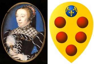 Caterina de' Medici & Familienwappen der Medici