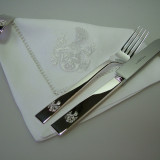 Besteck und Serviettenring Silber mit Wappen