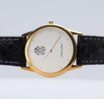 Uhr Gelbgold mit Lederarmband