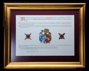 Wappen erstellen lassen -Wappenstiftung-Rittner-Urkunde