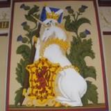 Die schottischen Drei mit Wappenschild im Schloß von Stirling