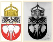 Vom Kaiser abgezeichneter Entwurf  und Wappen für Kamerun vor 1914