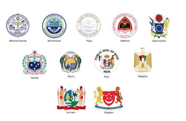 Von USA, Portugal, Neuseeland, Niederlande, Malaysia und Australien und anderen unabhängig gewordene Staaten/Territorien